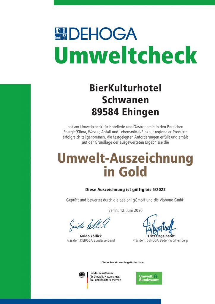 Auszeichnung_BierKulturhotelSchwanen Dehoga Umweltcheck